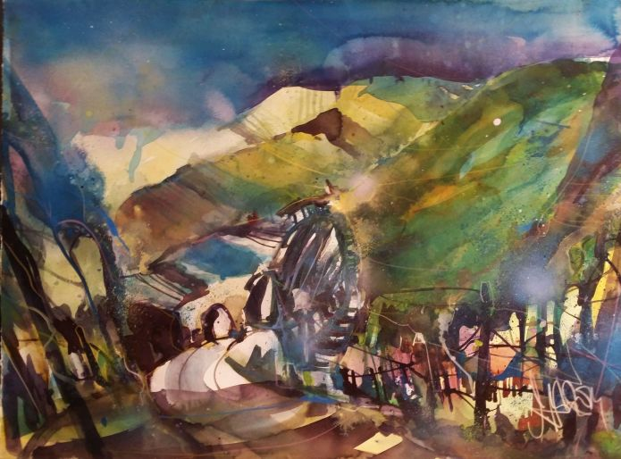 Weinlandschaft-Watercolor 56/76 cm-Andreas Mattern-2014