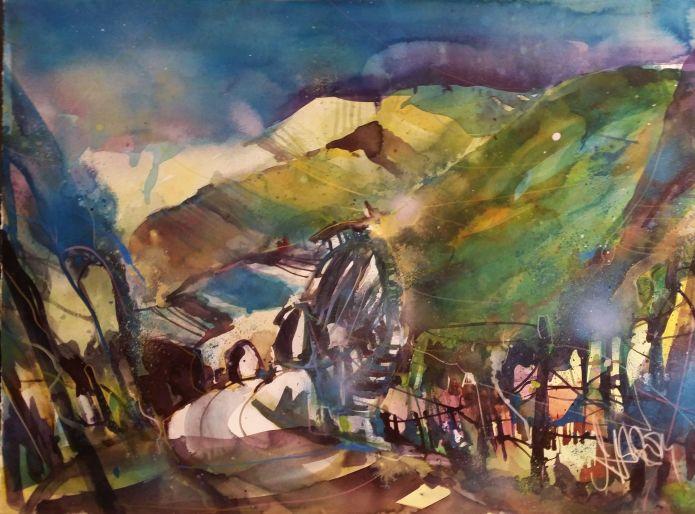 Weinlandschaft-Watercolor 56/76 cm-Andreas Mattern-2014