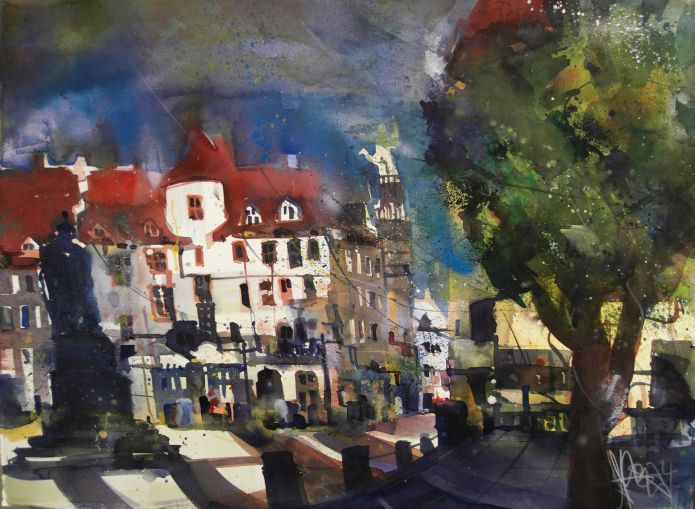 Schillerplatz, Stuttgart-Watercolor 56/76 cm-Andreas Mattern 2014