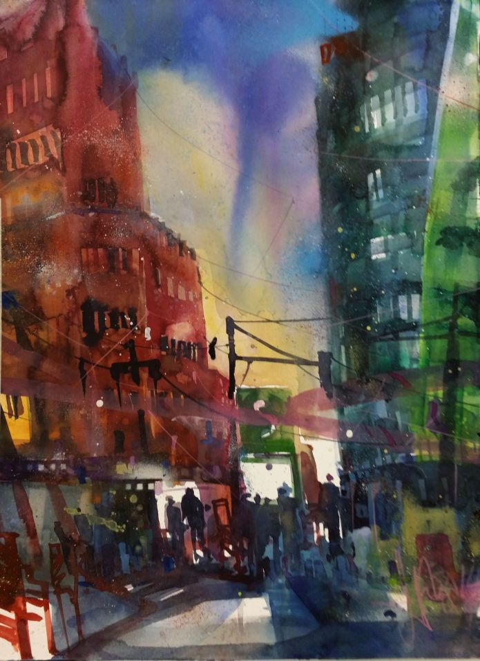 Potsdamer Platz Berlin-Watercolor 76/56 cm-Andreas Mattern-2014