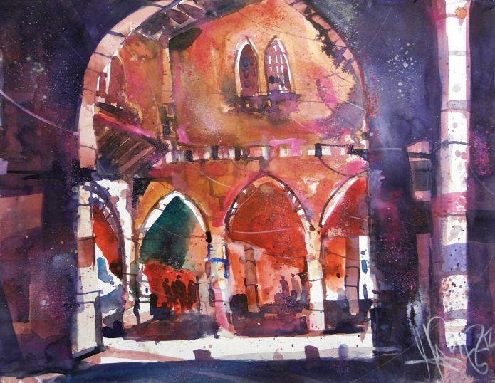 Pescheria, Fischmarkt,  Venedig-Watercolor 56/76 cm-Andreas Mattern-2014