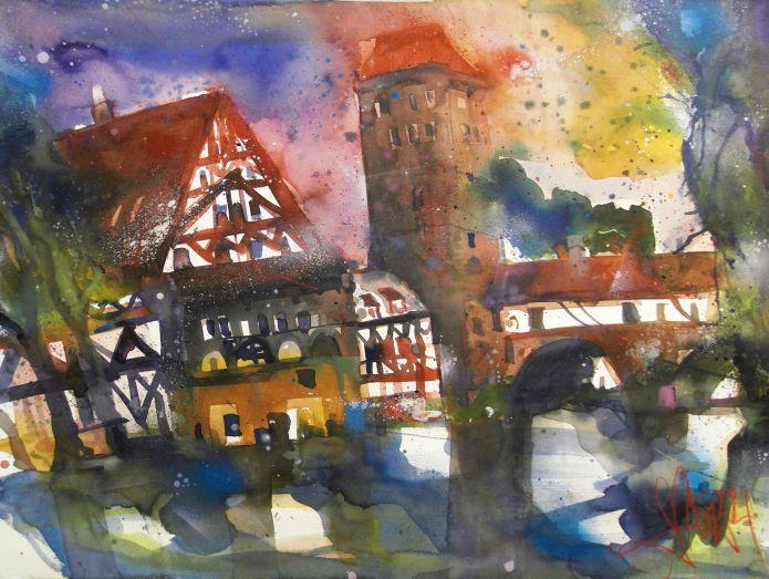 Nürnberg (Weinstadl)-Watercolor 56/76 cm-Andreas Mattern-2014