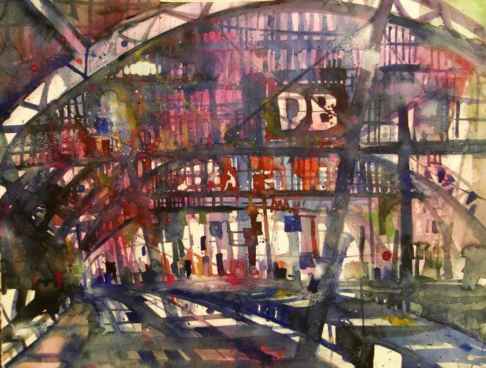 Berlin-Hauptbahnhof, Watercolor 56/76 cm, Andreas Mattern, 2014