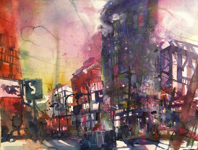Potsdamer Platz,Berlin-Watercolor 56/76 cm-Andreas Mattern-Dez.2014