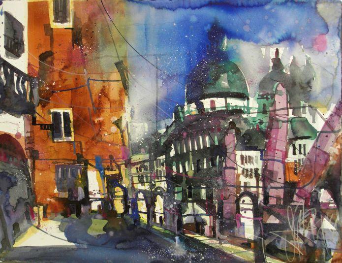 Venedig (grün)-Watercolor 56/76 cm-Andreas Mattern-2014