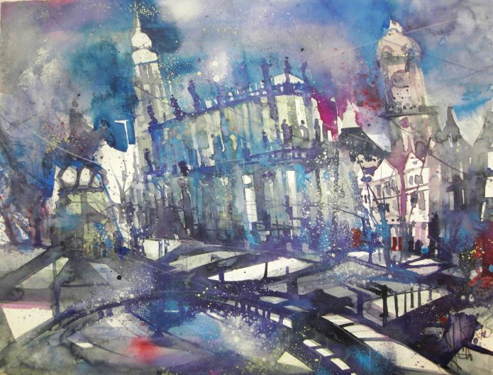 Dresden, Watercolor 56/76 cm, Andreas Mattern,2015