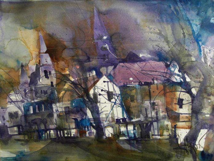 Häuser und Kirchen, Watercolor 56/76 cm, Andreas Mattern,2015