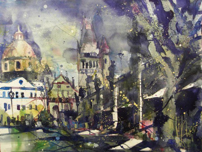 Prag 2, Watercolor 56/76 cm, Andreas Mattern, 2015