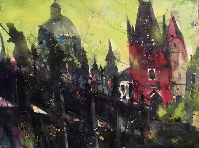 Prag, Watercolor 56/76 cm, Andreas Mattern,2015