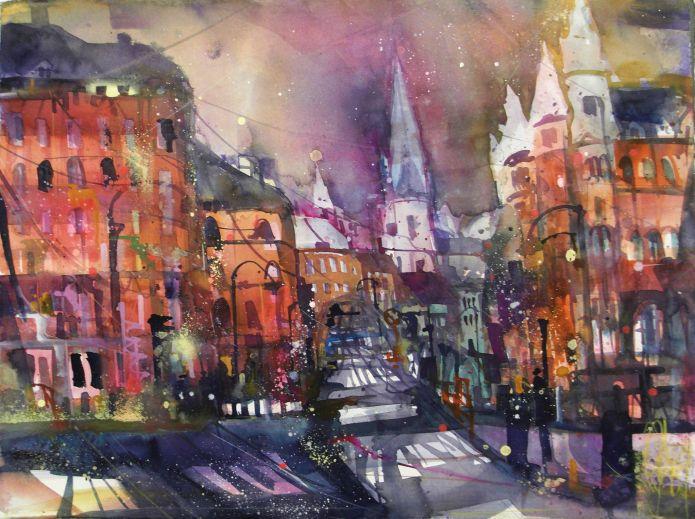 Hamburg; Im Sande, Watercolor 56/76 cm, Andreas Mattern, 2015