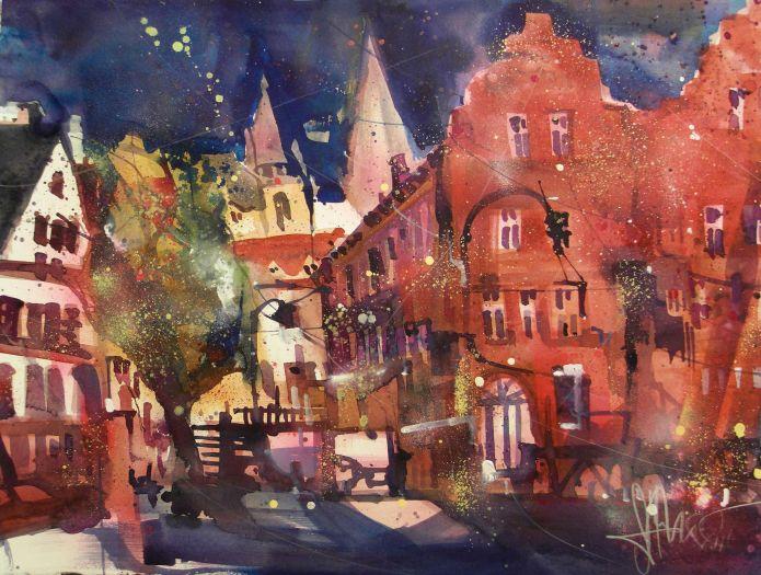 Oppenheim Marktplatz,Watercolor 56776 cm, Andreas Mattern,2015