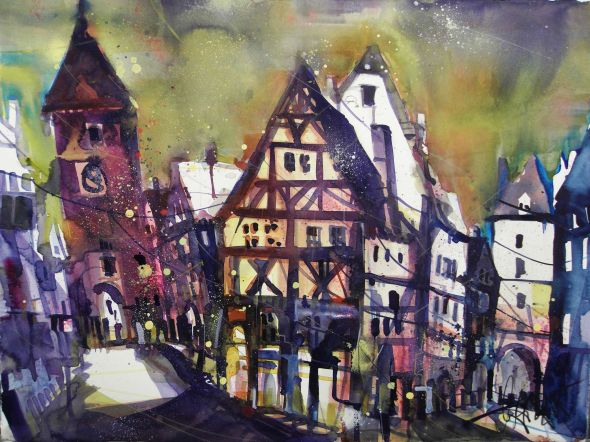 Rothenburg o.d. Tauber, Watercolor 56/76 cm, Andreas Mattern,2015