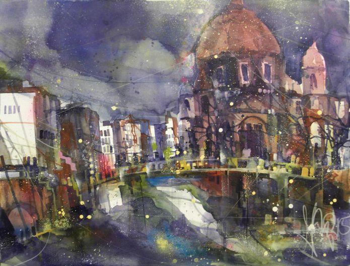 Berliner Don, Watercolor 56/76 cm, Andreas Mattern, 2015