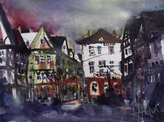 Kirschgarten, Mainz, Watercolor 56/76 cm, Andreas Mattern, 2015