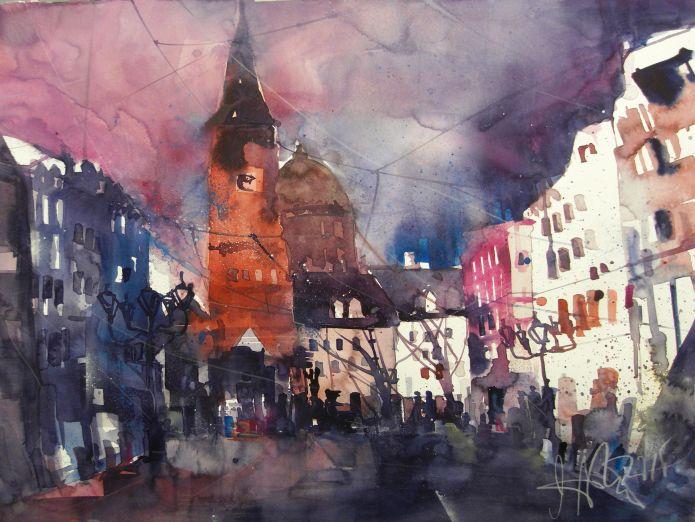 Nürnberg, Weißer Turm, Watercolor 56/76 cm, Andres Mattern,2015