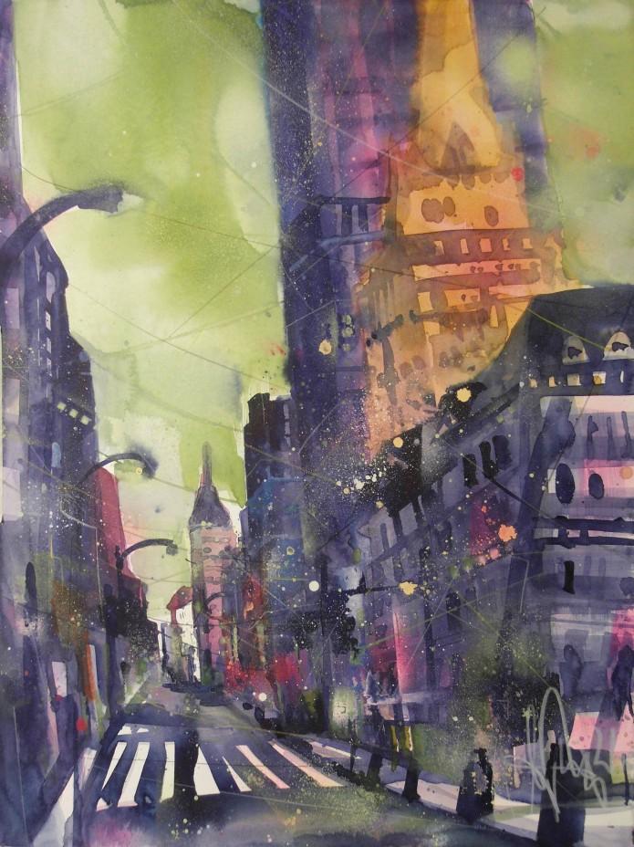 NY, Watercolor 76/56 cm, Andreas Mattern, 2015