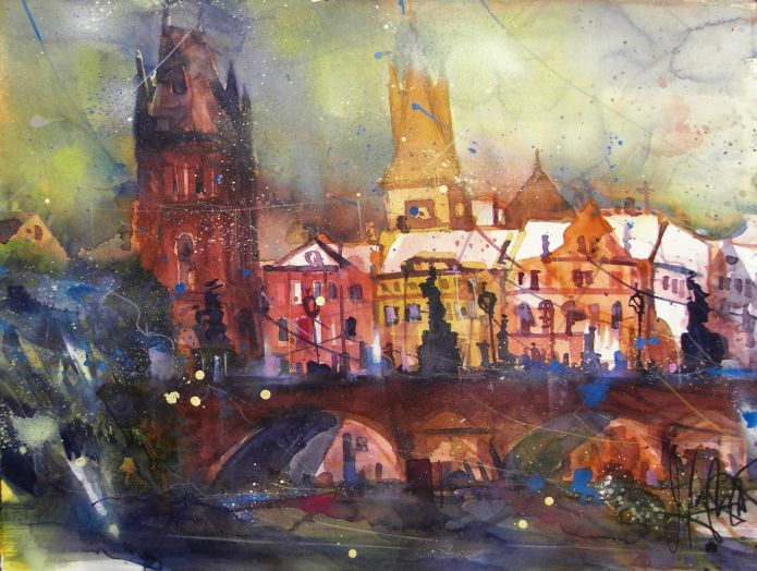 Prag II , Watercolor 56/76 cm, Andreas Mattern, 2015