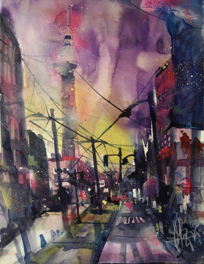 Berlin, P.A., Watercolor 76/56 cm, Andreas Mattern, 2015