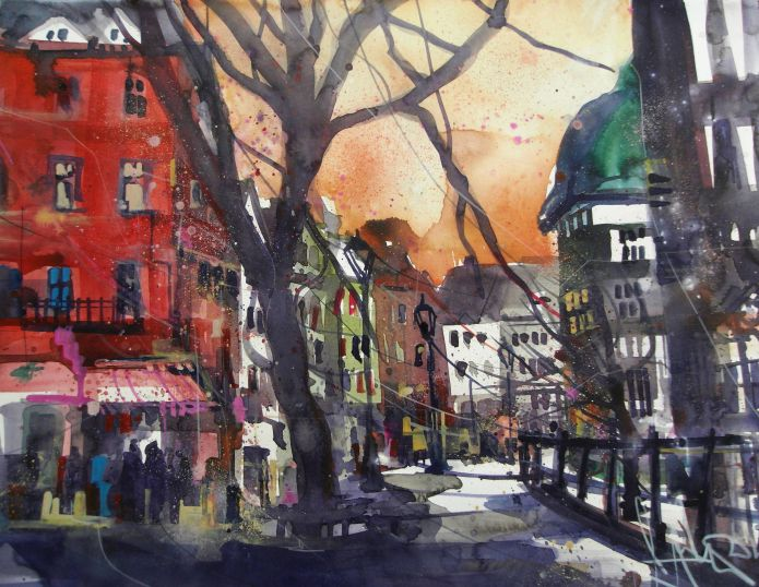 Aachen, Watercolor 56/76 cm, Andreas Mattern,2015