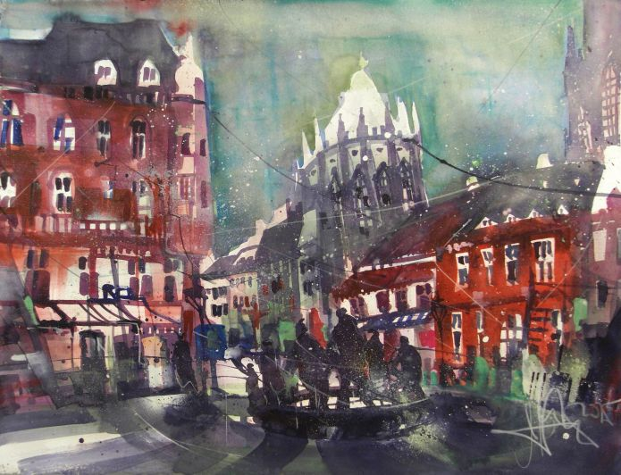 Aachen (mit Dom), Watercolor 56/76 cm, Andreas Mattern, 2015