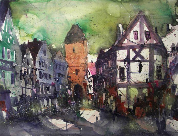 Ahrweiler (Niederntor), Watercolor 56/76 cm, Andreas Mattern, 2015
