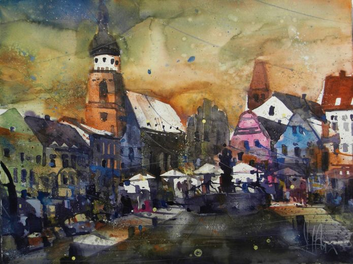 Marktplatz Cottbus, Watercolor 56/76 cm, Andreas Mattern,2015