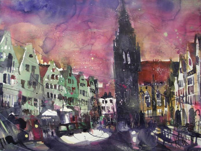 Münster, Watercolor 56/76 cm, Andreas Mattern,2105