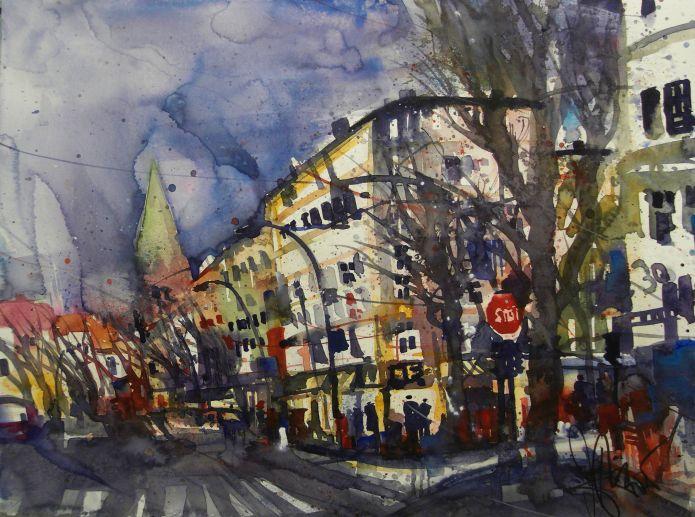 Stargarder Str. /Pappelallee, Berlin , Watercolor 56/76 cm, Andreas Mattern, 2015