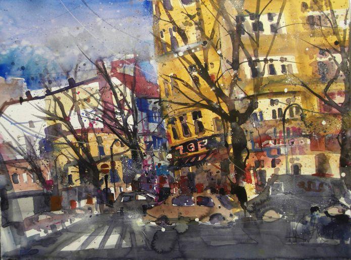 Berlin ZOE, Senefelderstr/Stubbenkammerstr., Watercolor 56/76 cm, Andreas Mattern, 2015