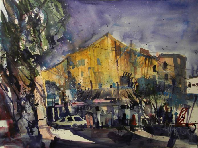 Berlin , Philharmonie, Watercolor 56/76 cm, Andreas Mattern, 2015
