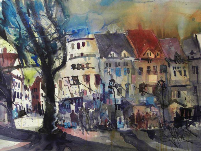 Saarbrücken St.Johanner Markt, Watercolor 56/76 cm, Andreas Mattern, 2015