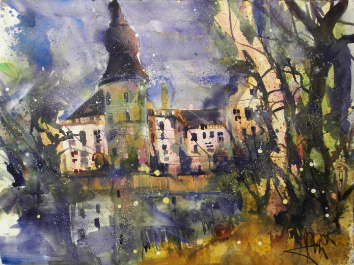 Wasserschloß Gemen (Münsterland), Watercolor 56/76 cm, Andreas Mattern, 2015