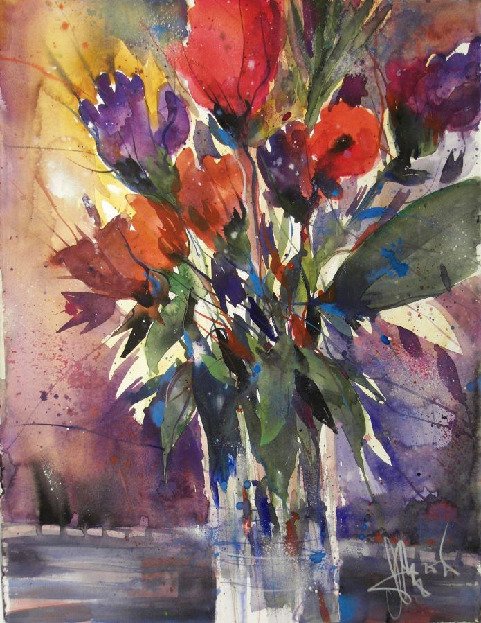 Blumen (mit Rot), Watercolor 76/56 cm, Andreas Mattern, 2015
