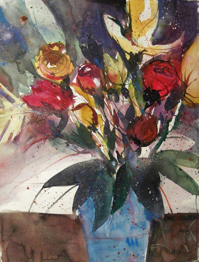 Blumen (mit Blau), Watercolor 76/56 cm, Andreas Mattern, 2015