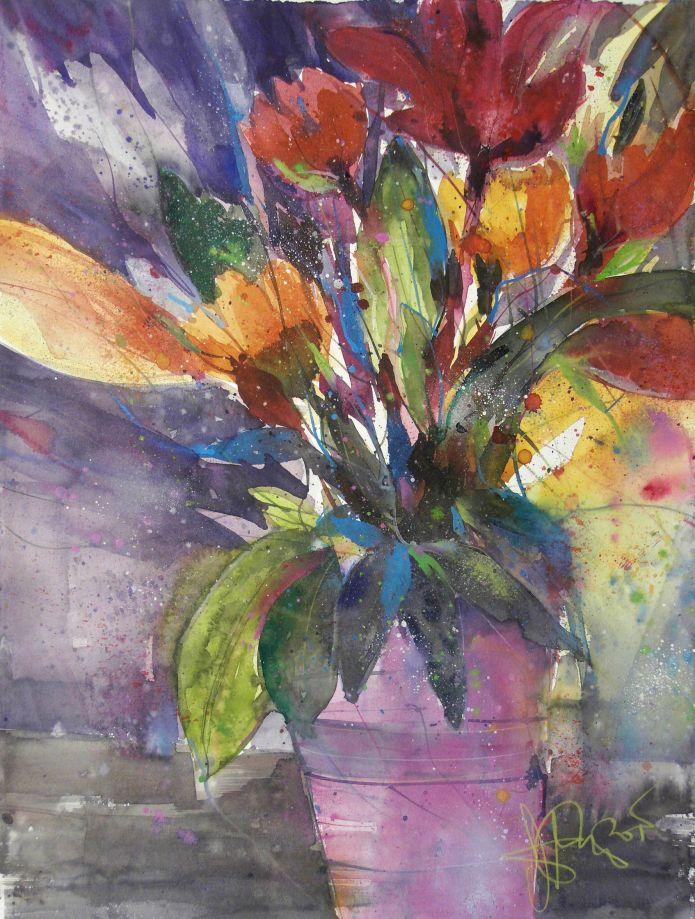 Blumen (mit Rosa oder Pink), Watercolor 76/56 cm, Andreas Mattern,2015)