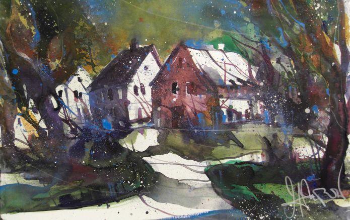 Landschaft , Watercolor 38/56 cm, Andreas Mattern,2015