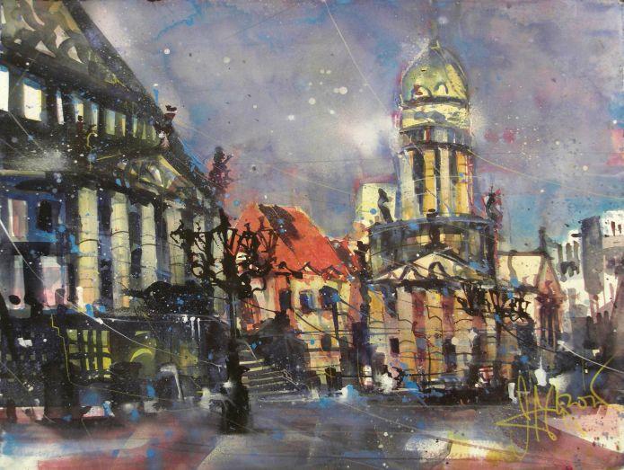 Berlin, Gendarmenmarkt, Watercolor 56/76 cm, Andreas Mattern,2014