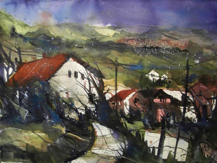 Landschaft (um die Ahr) Watercolor 56/76 cm, Andreas Mattern,2015