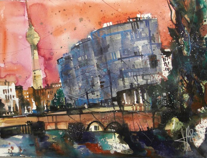 Trias Tower Berlin, Watercolor 56/76 cm, Andreas Mattern, 2015