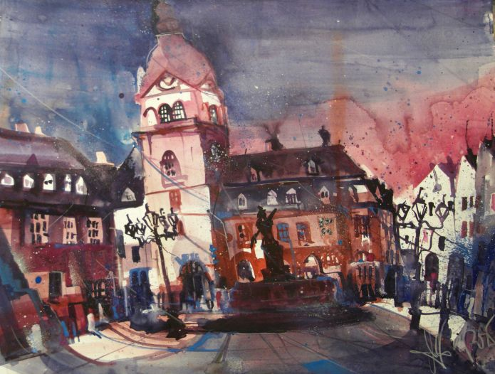 Weilburg, Altes Rathaus, Watercolor 56/76 cm, Andreas Mattern, 2015