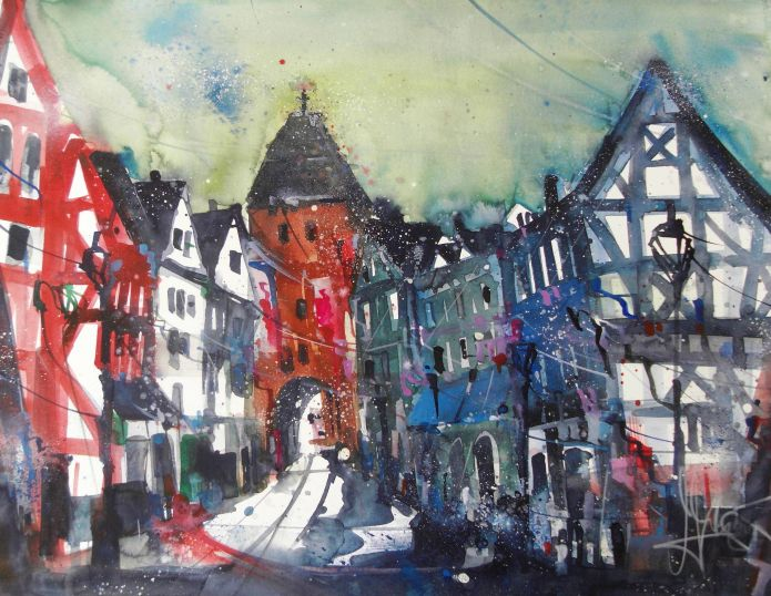 Niedertor, Watercolor 56/76 cm, Andreas Mattern,2015