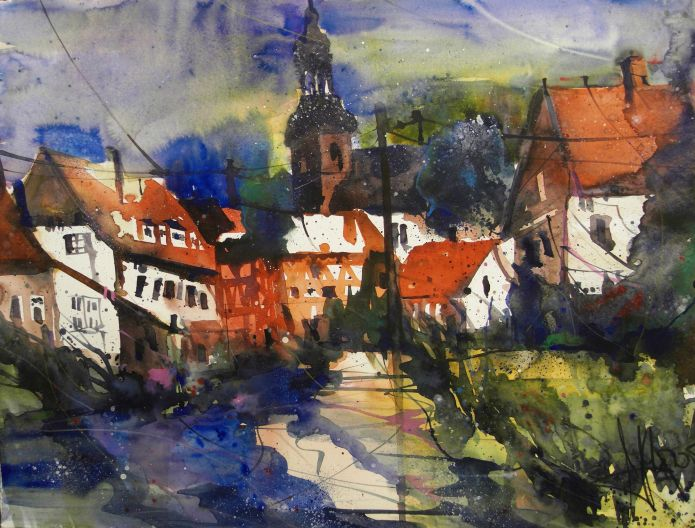 Bad Berka (bei Weimar), Watercolor 56/76 cm, Andreas Mattern, 2015