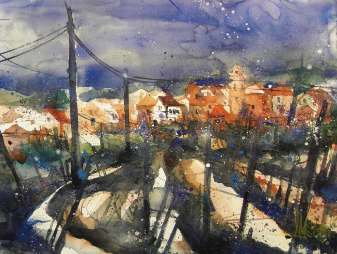 Landschaft Toskana, Watercolor 56/76, Andreas Mattern, 2015