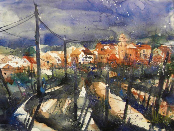 Landschaft Toskana, Watercolor 56/76, Andreas Mattern, 2015