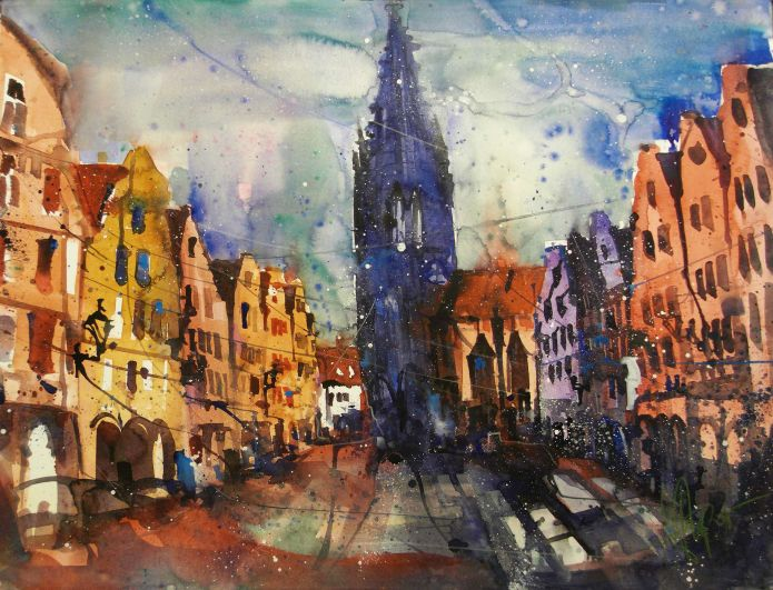 Münster, Watercolor 56/76 cm, Andreas Matterm, 2015