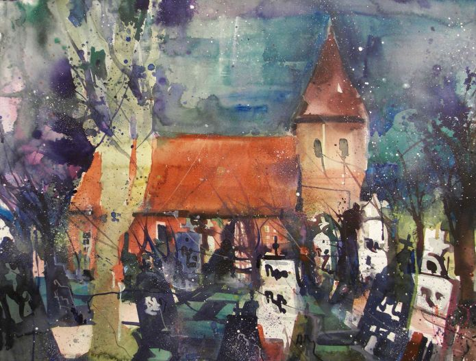 Seemannskirche, Prerow, Watercolor 56/76 cm, Andreas Mattern,2015