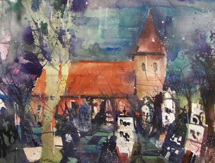 Seemannskirche, Prerow, Watercolor 56/76 cm, Andreas Mattern,2015