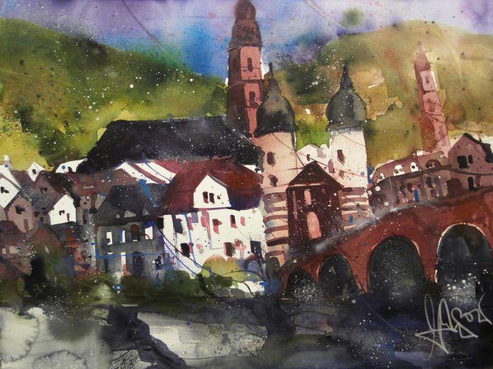 Heidelberg, Watercolor 56/76 cm, Andreas Mattern, 2015