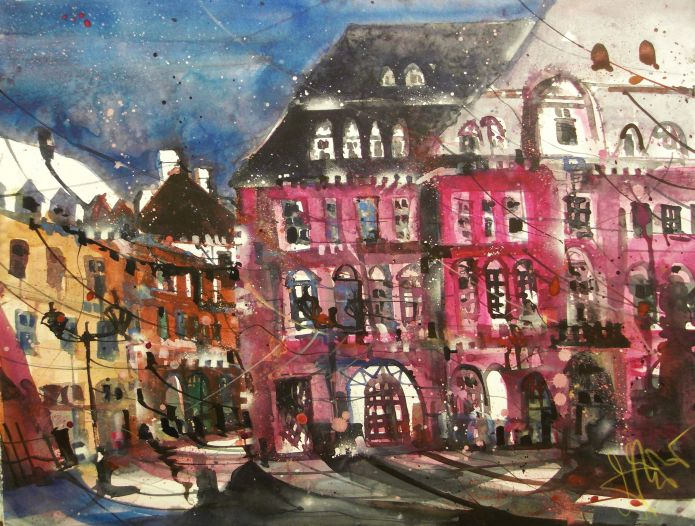 Rathaus Heidelbeg, Watercolor 56/76 cm, Andreas Mattern, 2015