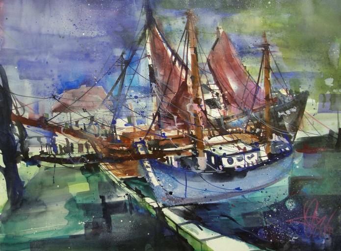 Boote im Hafen, Watercolor 56/76 cm, Andreas Mattern,2015